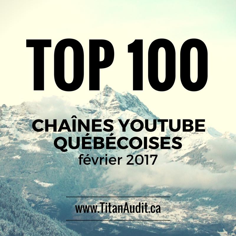 Top 100 chaînes YouTube Québécoises en 2017