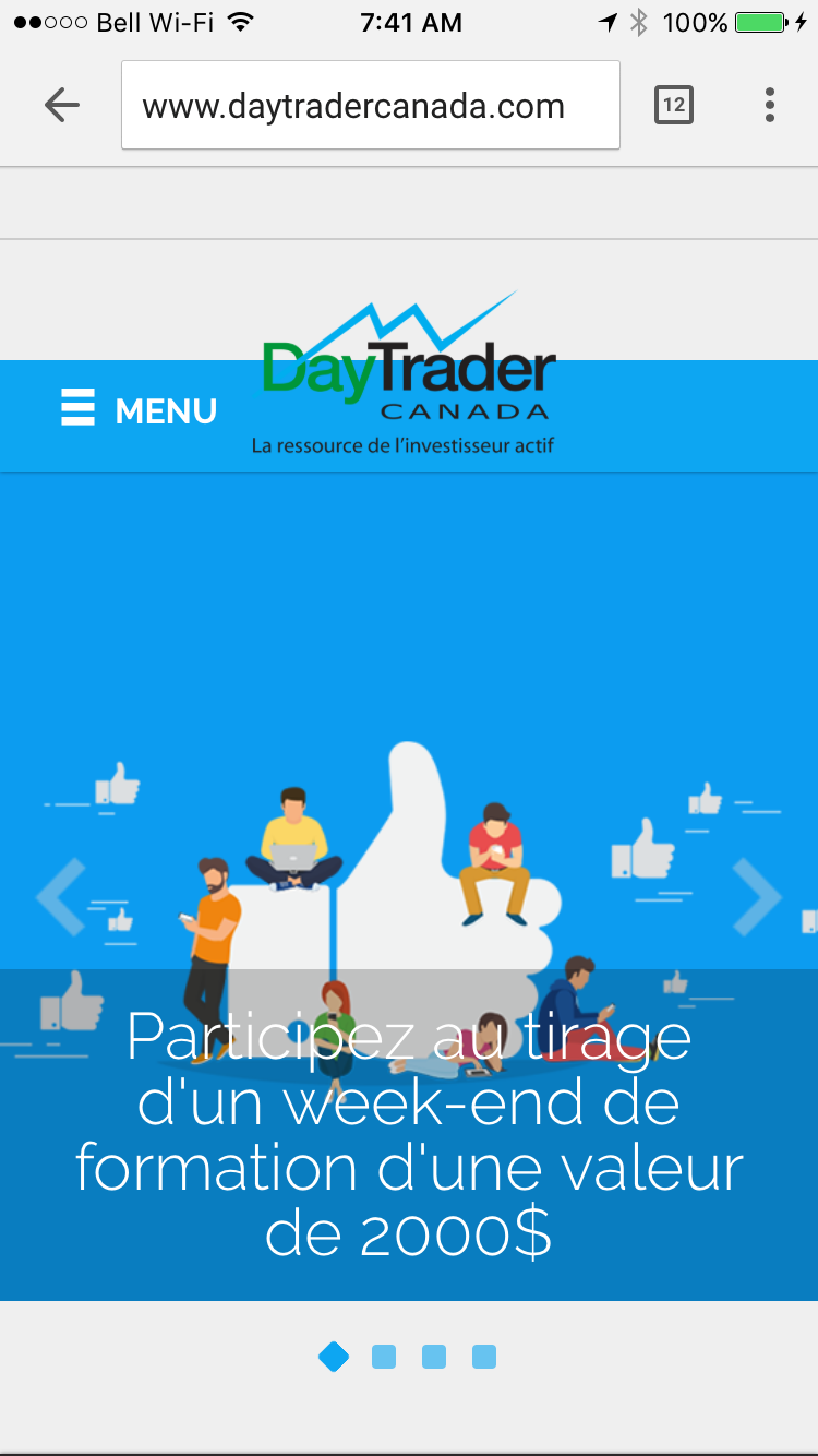 DayTrader Canada site mobile