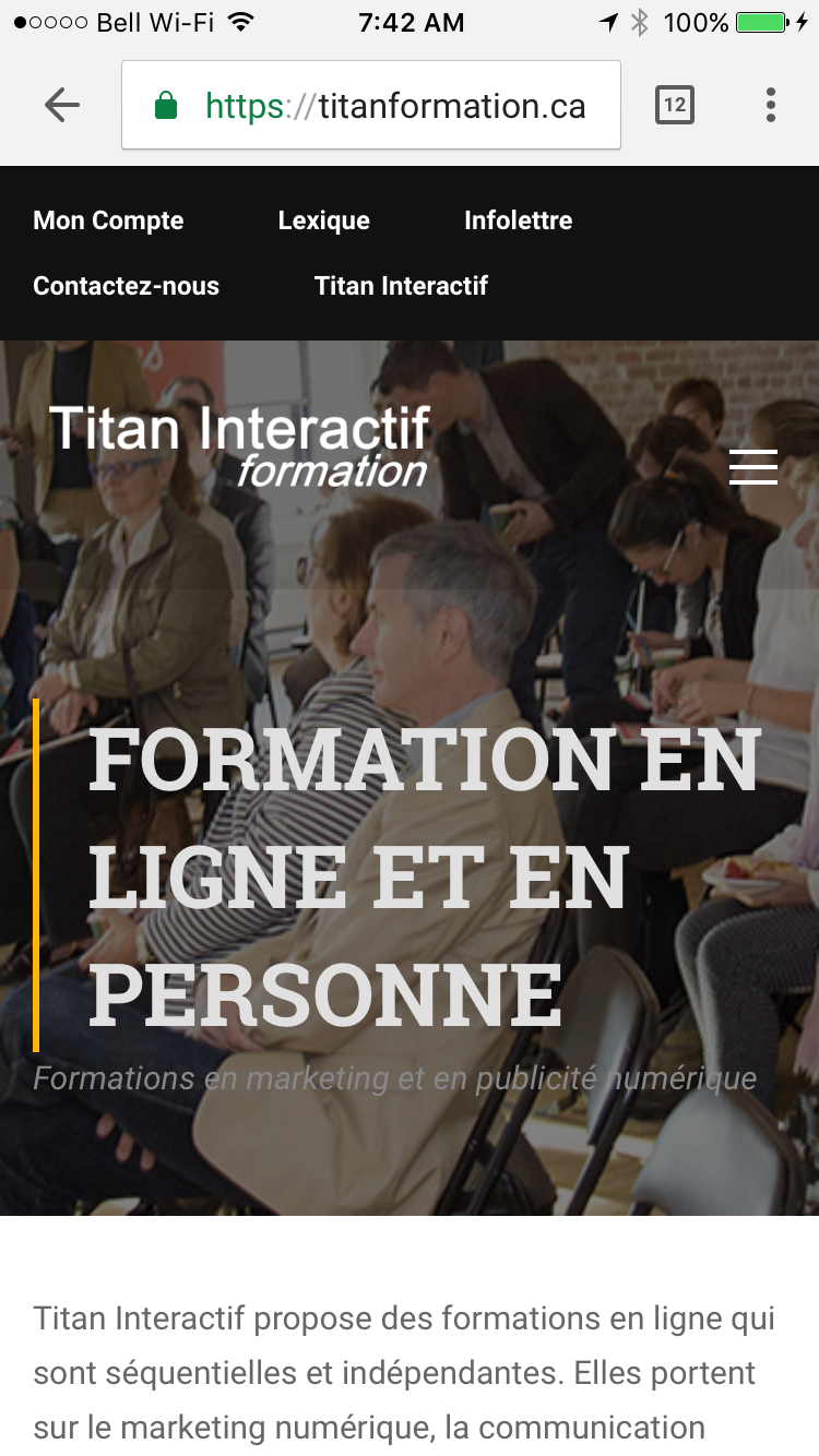 Site mobile TitanFormation.ca