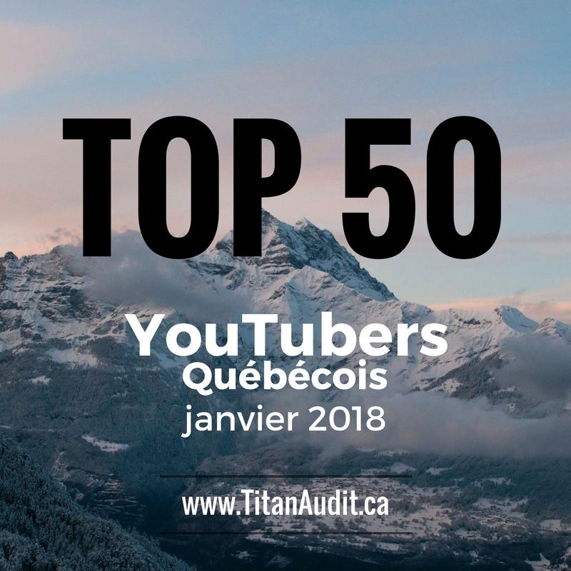 Top 50 YouTubers Québécois Francophones en 2018