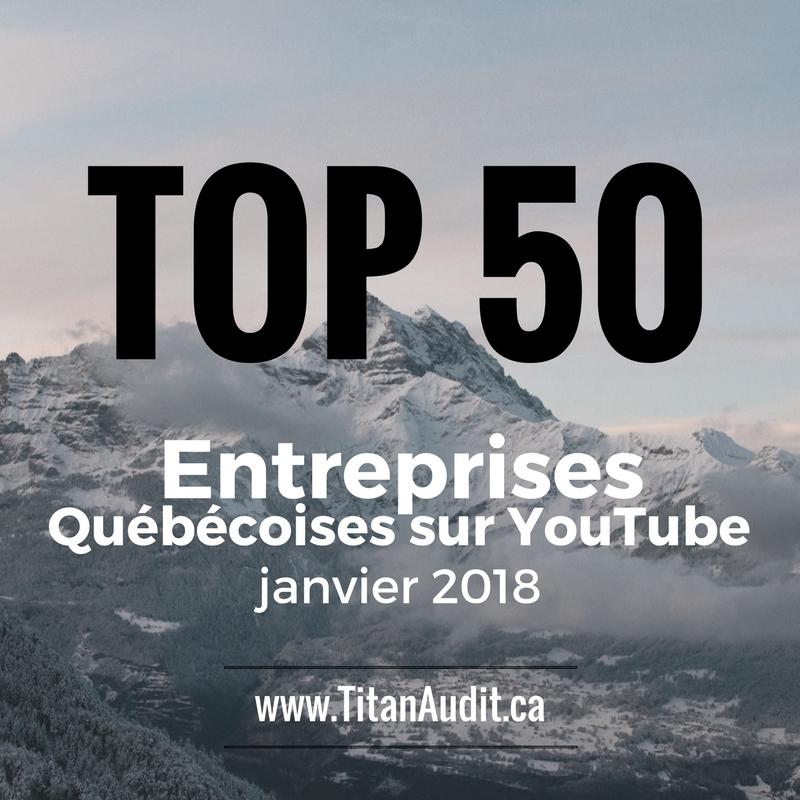 Top 50 entreprises Québécoises sur YouTube en 2018