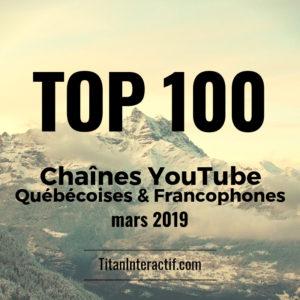 top 100 chaînes youtube québécoises 2019